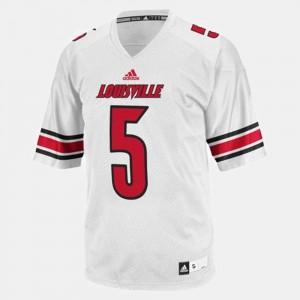 For Men UofL #5 Teddy Bridgewater White College Football Jersey 224581-968