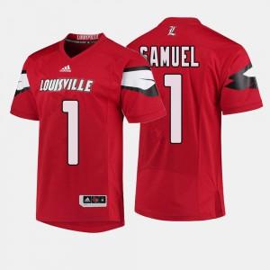 Men's U of L #1 Traveon Samuel Red College Football Jersey 564133-364