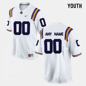 For Kids LSU #00 White College Limited Football Customized Jersey 932959-263