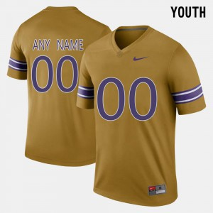 Youth Louisiana State Tigers #00 Gridiron Gold Throwback Custom Jersey 341487-277