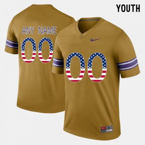Youth Tigers #00 Gridiron Gold US Flag Fashion Customized Jersey 954970-317