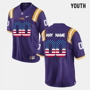 Youth LSU Tigers #00 Purple US Flag Fashion Customized Jerseys 434676-433