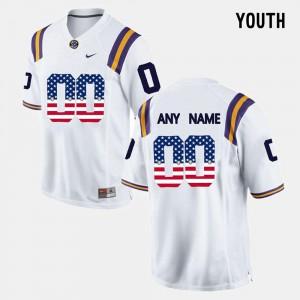 Kids LSU #00 White US Flag Fashion Customized Jersey 417136-485