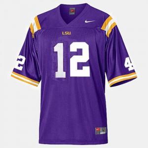 Men's LSU #12 Jarrett Lee Purple College Football Jersey 192729-809