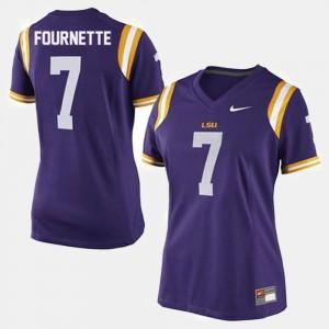 For Women LSU #7 Leonard Fournette Purple College Football Jersey 552902-329