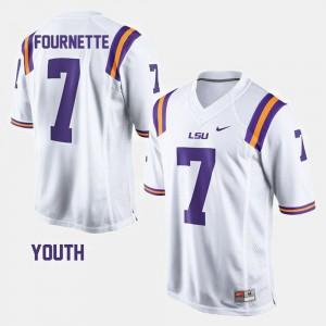 For Kids LSU #7 Leonard Fournette White College Football Jersey 668393-275