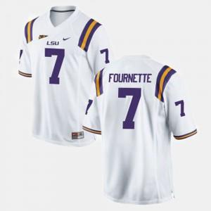 Mens LSU Tigers #7 Leonard Fournette White College Football Jersey 734580-873