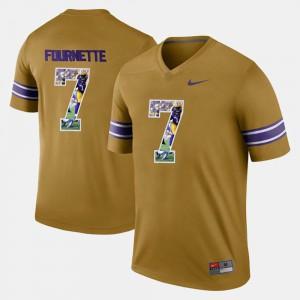Mens LSU Tigers #7 Leonard Fournette Gold Player Pictorial Jersey 360631-246