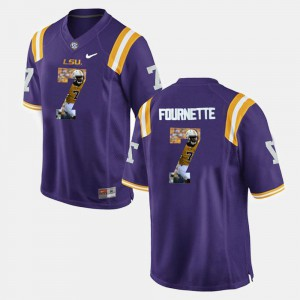 Mens LSU #7 Leonard Fournette Purple Player Pictorial Jersey 762757-832