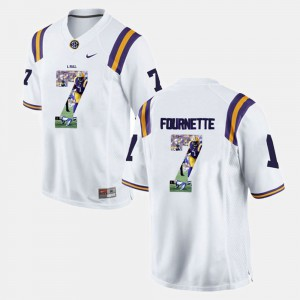 Men's Tigers #7 Leonard Fournette White Player Pictorial Jersey 903567-719