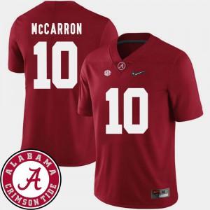 Men Alabama Roll Tide #10 AJ McCarron Crimson College Football 2018 SEC Patch Jersey 427795-337