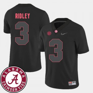 For Men's Alabama Roll Tide #3 Calvin Ridley Black College Football 2018 SEC Patch Jersey 407507-725