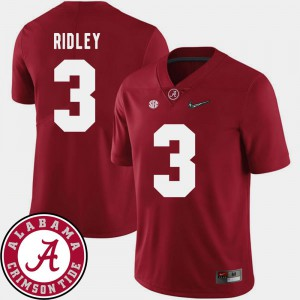Men Roll Tide #3 Calvin Ridley Crimson College Football 2018 SEC Patch Jersey 471578-171