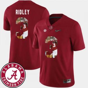 For Men's Alabama #3 Calvin Ridley Crimson Pictorial Fashion Football Jersey 696439-217