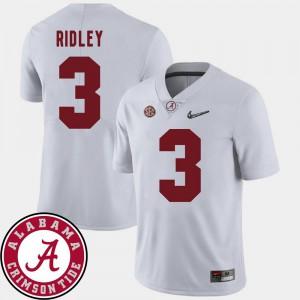 Men's Bama #3 Calvin Ridley White College Football 2018 SEC Patch Jersey 562350-280