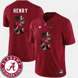 For Men's Alabama #2 Derrick Henry Crimson Pictorial Fashion Football Jersey 557758-810