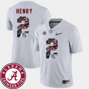 For Men's Bama #2 Derrick Henry White Pictorial Fashion Football Jersey 144040-993