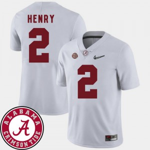 For Men's Bama #2 Derrick Henry White College Football 2018 SEC Patch Jersey 429725-235