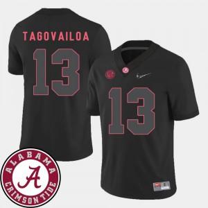 For Men Bama #13 Tua Tagovailoa Black College Football 2018 SEC Patch Jersey 724524-448