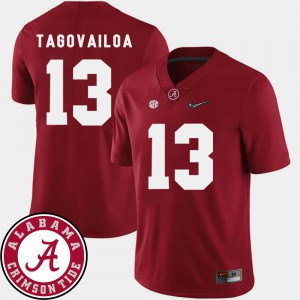 Mens Alabama Roll Tide #13 Tua Tagovailoa Crimson College Football 2018 SEC Patch Jersey 179437-984