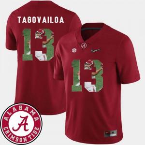 Men's Alabama #13 Tua Tagovailoa Crimson Pictorial Fashion Football Jersey 956482-958