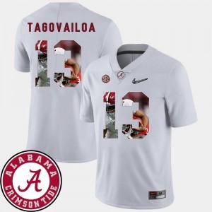 For Men's University of Alabama #13 Tua Tagovailoa White Pictorial Fashion Football Jersey 695311-661