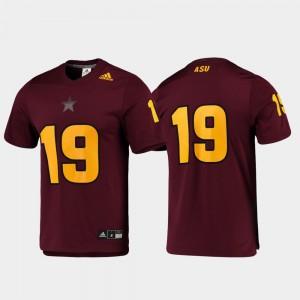 Men Arizona State #19 Maroon Replica Football Jersey 977062-739