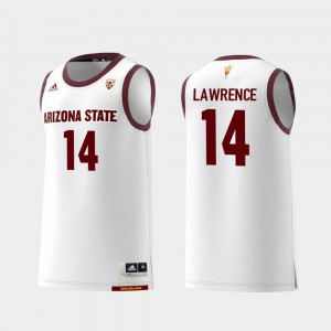 Men's Arizona State #14 Kimani Lawrence White Replica College Basketball Jersey 794803-803