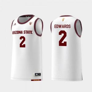 For Men's Arizona State Sun Devils #2 Rob Edwards White Replica College Basketball Jersey 422594-917