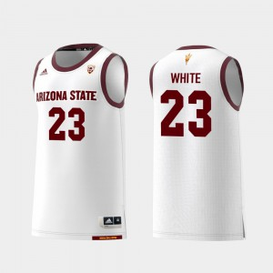 Men's Sun Devils #23 Romello White White Replica College Basketball Jersey 256394-906