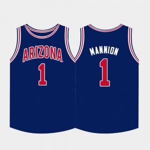 Mens Arizona Wildcats #1 Nico Mannion Navy College Basketball Jersey 199832-279