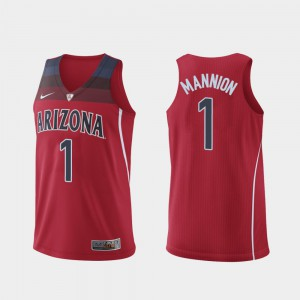 Men Arizona #1 Nico Mannion Red Authentic Hyper Elite College Basketball Jersey 240643-352