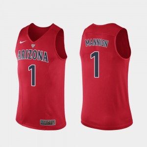 Mens Wildcats #1 Nico Mannion Red Authentic Hyper Elite Performance Jersey 316120-869