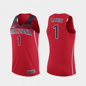 For Men Wildcats #1 Nico Mannion Red Replica College Basketball Jersey 658326-347