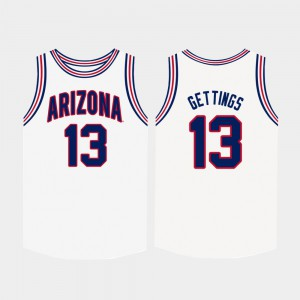 For Men's Arizona #13 Stone Gettings White College Basketball Jersey 658783-774