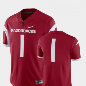 Mens Razorbacks #1 Cardinal College Football 2018 Game Jersey 594843-346
