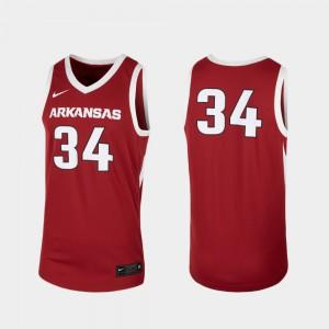 Men Arkansas Razorbacks #34 Cardinal Replica College Basketball Jersey 192636-568