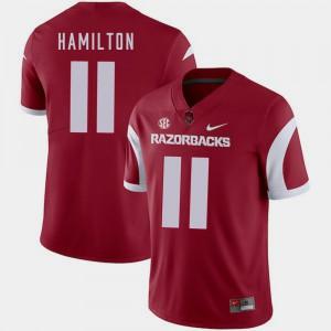 For Men's Arkansas #11 Cobi Hamilton Cardinal College Football Jersey 334234-368