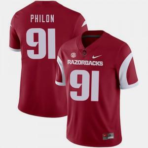 Men Arkansas #91 Darius Philon Cardinal College Football Jersey 963657-964