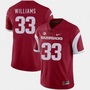 For Men Arkansas #33 David Williams Cardinal College Football Jersey 298829-843