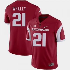 For Men Arkansas #21 Devwah Whaley Cardinal College Football Jersey 937238-397
