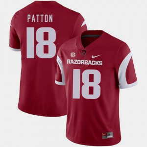 For Men Arkansas #18 Jeremy Patton Cardinal College Football Jersey 166112-587