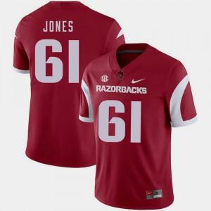 Mens Arkansas #61 Jerry Jones Cardinal College Football Jersey 330033-205