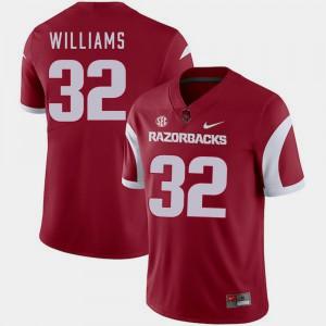 Men's Razorbacks #32 Jonathan Williams Cardinal College Football Jersey 432754-327