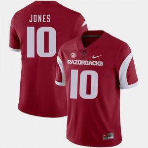 Mens University of Arkansas #10 Jordan Jones Cardinal College Football Jersey 147664-513