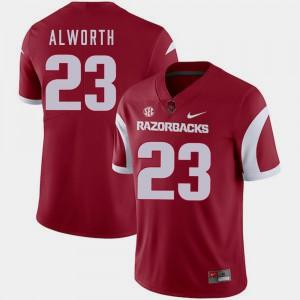 Men Arkansas Razorbacks #23 Lance Alworth Cardinal College Football Jersey 429605-505