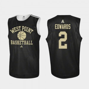 Mens United States Military Academy #2 Cayne Edwards Black Practice College Basketball Jersey 724135-989