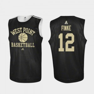For Men Army West Point #12 Nick Finke Black Practice College Basketball Jersey 485857-977