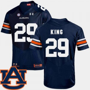 For Men Tigers #29 Brandon King Navy College Football SEC Patch Replica Jersey 233840-397