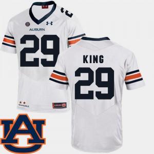 For Men Auburn #29 Brandon King White College Football SEC Patch Replica Jersey 309437-385